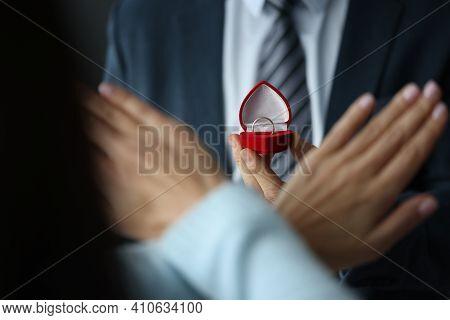 Woman Refusing Wedding Ring In Red Box Closeup. Wedding Proposal Concept