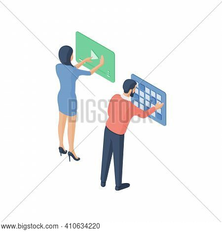 Man And Woman Browsing Social Media Together
