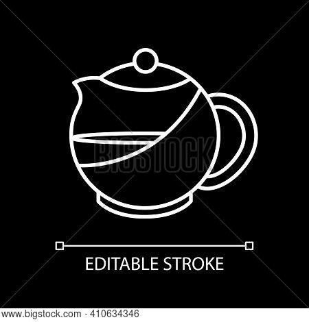 Kettle With Tea White Linear Icon For Dark Theme. Teapot With Liquid. Teakettle With Water. Thin Lin