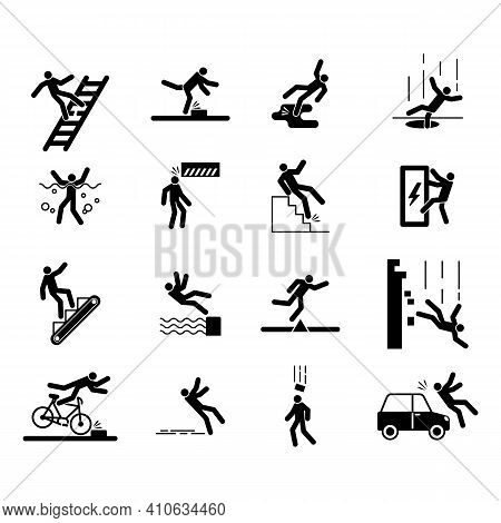 Accident Icons, People Injury Caution Safe Warning