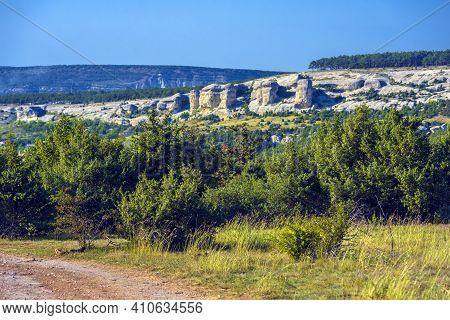 Stone Pillars. Stone Sphinxes Of Bakhchisaray In Crimea.