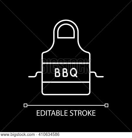 Bbq Apron White Linear Icon For Dark Theme. Protective Garment For Cooking. Barbecue Cookery. Thin L