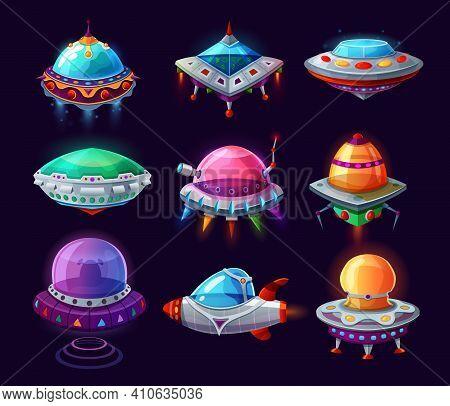 Ufo Alien Saucer, Cartoon Humanoid Space Aircraft
