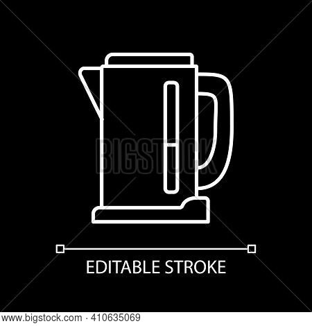 Electric Kettle White Linear Icon For Dark Theme. Teakettle To Boil Water. Household Appliance. Thin