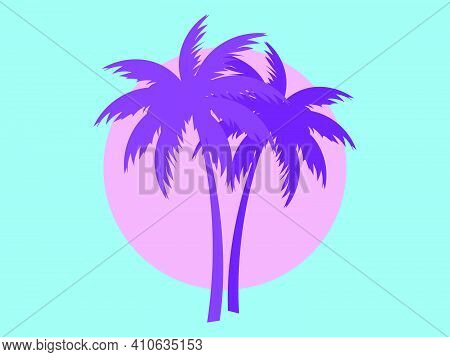 Two Palm Trees Against A Pink Sun In The Style Of The 80s. Synthwave And 80s Style Retrowave. Design