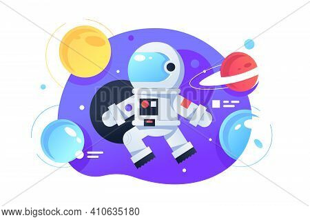 Cosmonaut In Space Vector Illustration. Colourful Bright Planets Flat Style. Galaxy And Adventure. A