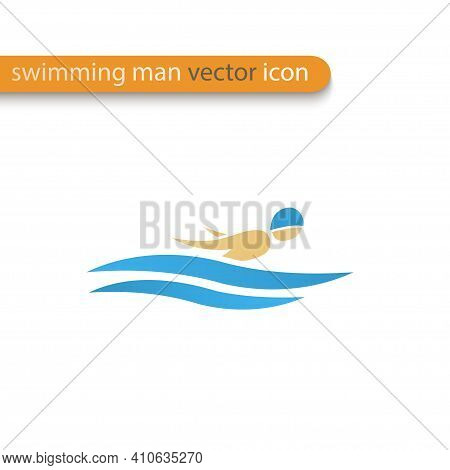 Vector Symbol Of A Butterfly Stroke Swimmer. Swimming Pool Icon. Sports Activity In Water Sign. Isol