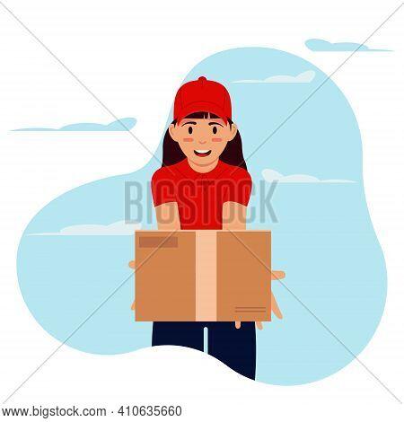 Courier Girl In A Red Uniform Delivering Cardboard Parcel Box