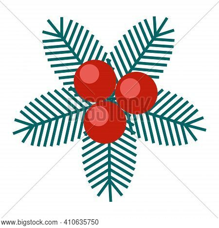 Simple Minimalistic Green Branch Of A Spruce With Needles And Red Berries. Floral Collection Of Eleg