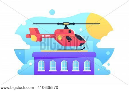 Helicopter Standing On Rooftop Vector Illustration. Helipad For Landing Flat Style. Residential Buil