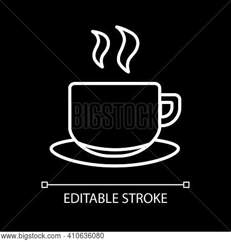 Hot Tea Mug White Linear Icon For Dark Theme. Steaming Drink In Mug. Coffee With Scent. Thin Line Cu