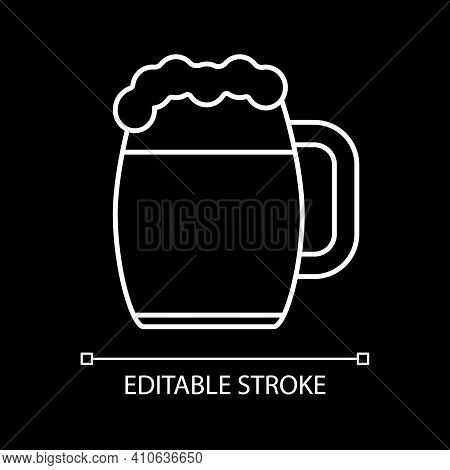 Beer Mug White Linear Icon For Dark Theme. Drinking Alcohol In Pub. Cup With Lager, Ale, Stout. Thin
