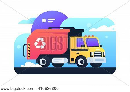 Modern Garbage Collection In City In Garbage Truck. Isolated Concept City Cleaning, Urban Bussines,