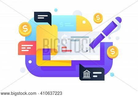 Modern Pen Signs Checkbook For Transmission Money From Banking System. Icon Concept Of Service For C