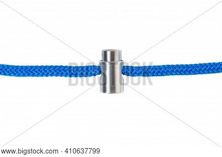 Metal Spring Cylindrical Stopper On A Rope. Restraining Rope Clamp