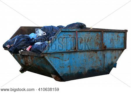 Dumpster For Demolition Removal Isolated On White Background. Container For Garden Waste And For Dum