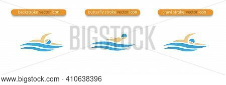 Set Of Vector Symbols Depicting Butterfly Stroke, Crawl Stroke And Back Stroke Swimmers. Swimming Po