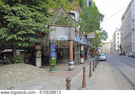 Vienna, Austria - July 12, 2015: Famous House Residential Buildings By Architect Hundertwasser In Wi