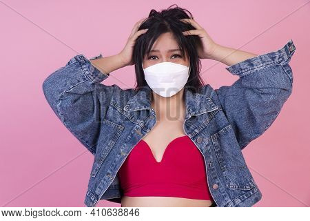 Protective Safety Outbreak Corona Virus And Heath Care Concept. Obesity Fat Woman Wear Protection Fa