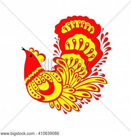 Folklore Style Bird. Rooster Or Black Grouse. Vector Tattoo Design.