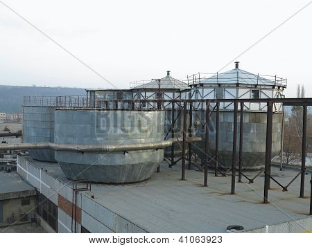 Old Industrial Chemical Storage Tanks