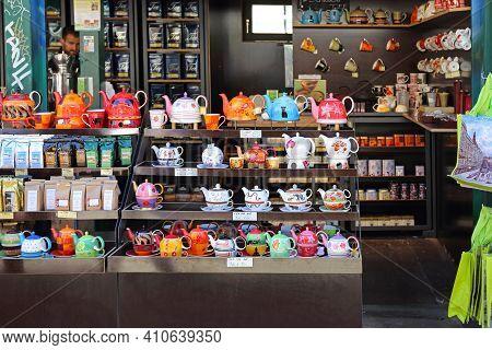 Vienna, Austria - July 11, 2015: Tea Pots Chai Souvenir Shop At Naschmarkt In Wien, Austria.