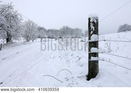 Winter Landscape. Snowy Road On A Winter Day