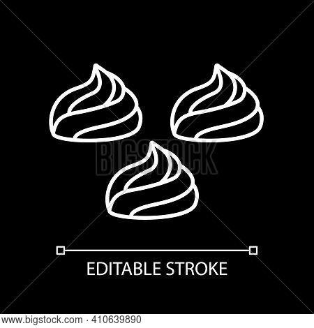 Meringue White Linear Icon For Dark Theme. Dessert Pavlova. Cream For Bakery. Cake Frosting. Thin Li