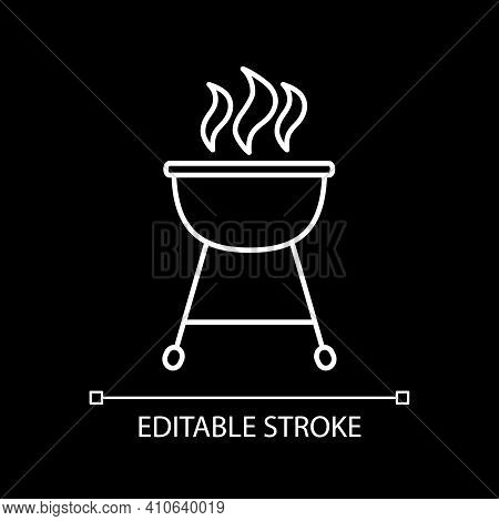 Barbecue White Linear Icon For Dark Theme. Barbeque Cookout. Grill Cooking. Stove For Cookery. Thin