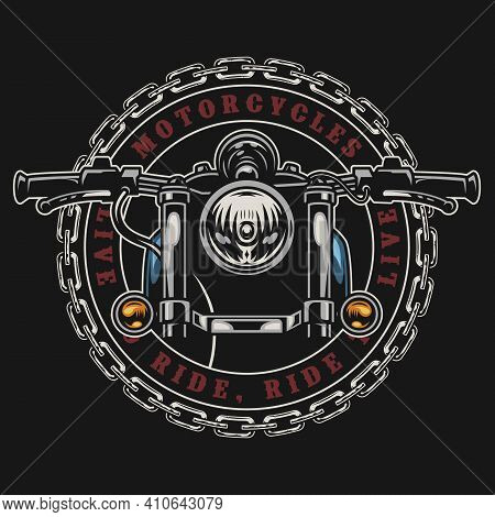 Motorcycle Vintage Colorful Round Emblem With Metal Chain Inscriptions And Motorbike Isolated Vector