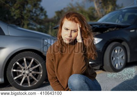 Portrait Of Woman Suffering Pain After Car Accident