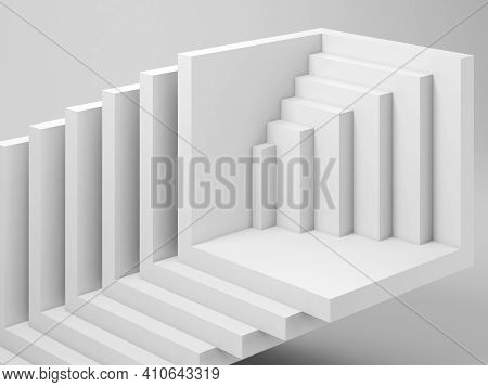 Abstract White Three Dimensional Geometric Installation Of Empty Cubical Shapes, Cgi Background Patt
