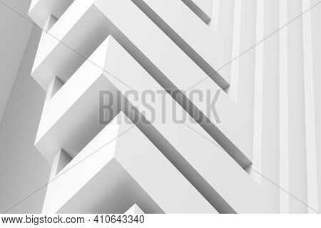 Abstract Three Dimensional White Geometric Pattern, Installation Of Corners, Cgi Background. 3d Rend