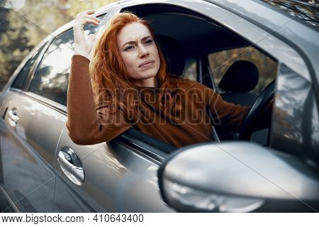 Stressed Woman Feeling Angry And Driving Car