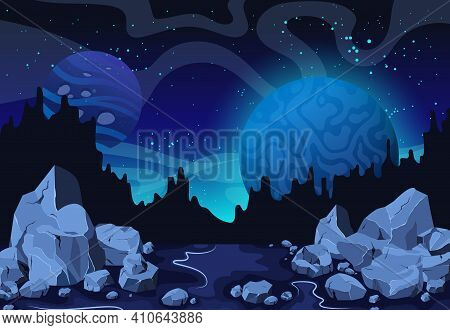 Planets Surface With Craters, Stars And Comets In Dark Space. Cartoon Space Background