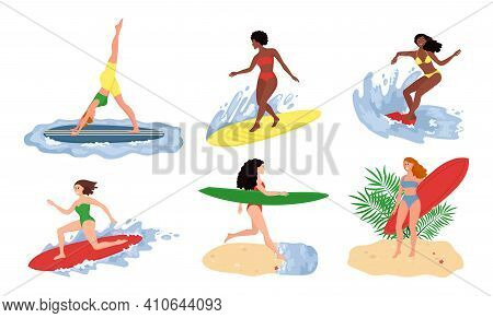 Surfing People. Surfer Standing On Surf Board, Surfers On Beach And Summer Wave Riders Surfboards. S
