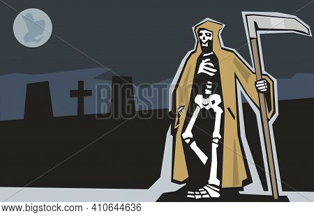 Death With Scytheman On Graveyard. Night Full Moon On Gray Sky . Flat Vector Illustration On Dark Ba
