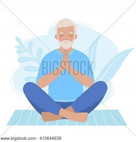 Mature Older Man Practicing Zen Pose On A Yoga Mat. Vector