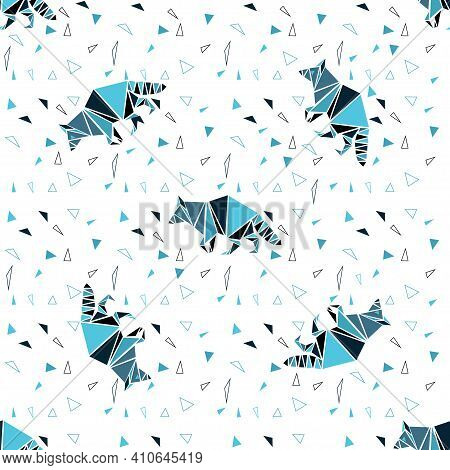 Seamless Pattern With Wild Animals. Figures Of A Raccoon That Goes In A Circle. Modern Background Wi