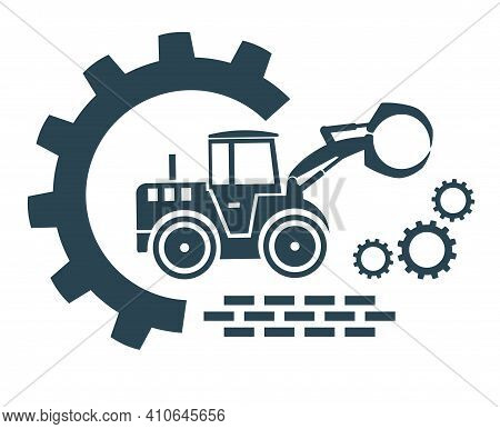 Vector Icon Of The Tractor Loader Logo. Construction And Special Equipment, Tractor.