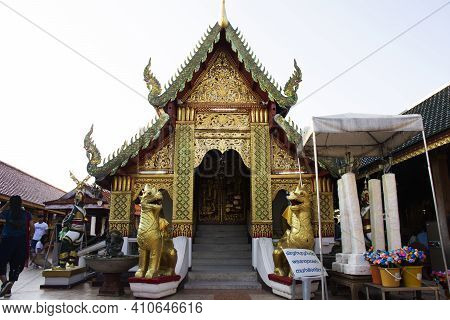 Ordination Hall Church Or Ubosot Of Wat Phra That Doi Kham Temple For Thai People And Foreign Travel