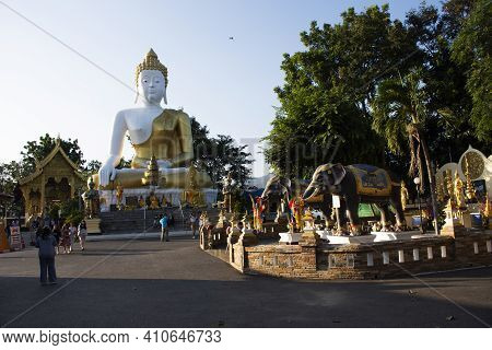 Thai People And Foreign Travelers Travel Visit Respect Praying Buddha God Angel Deity Of Wat Phra Th
