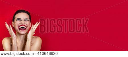 Horizontal Banner. Woman Shouting On Red Background