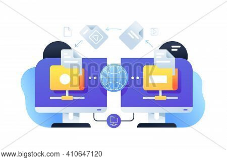 Computer Digital File Sharing Using Connection With Online App. Isolated Icon Concept Of Pc Technolo