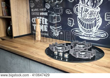 Modern Kitchen Equipment Concept Black Tempered Glass Round Shape Gas Hob With Cast-iron Grill With