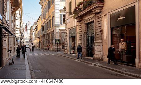 Rome, Italy - February 25, 2021: Via Dei Condotti Looking Towards Piazza Di Spagna During The Period