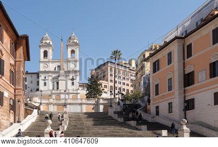 Rome, Italy - February 25 2021: A View Of Trinità Dei Monti And Spanish Steps During The Coronavirus
