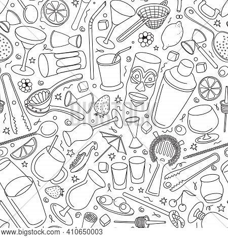 Hand-drawn Doodle Cartoon Style Bar Cocktail Tools Accessories Instruments Such As Shaker Glasses St