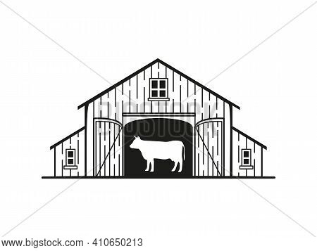 Logo With The Image Of A Barn With A Cow Inside
