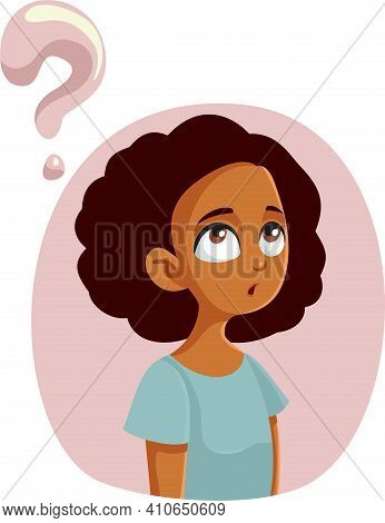 African Teen Girl Having Questions About Adolescence